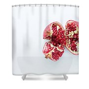 Ripe Pomegranate Fruit On A White Background Shower Curtain