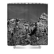 Rippled Walls B-w Shower Curtain