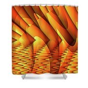 Ripples In Gold Shower Curtain