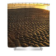 Ripples In The Sand Low Tide Golden Sunset Shower Curtain