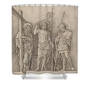 Risen Christ Between Saints Andrew And Longinus Shower Curtain
