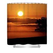 Rising Sun Lighting Ground Fog Shower Curtain