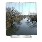 River At Marston On Dove Shower Curtain