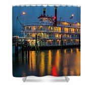 River Boat At Dusk Shower Curtain