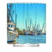 Darien Shrimp Boats Shower Curtain