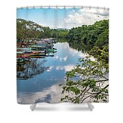 River Boats Docked Shower Curtain