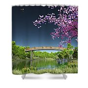 River Bridge Cherry Tree Blosson Shower Curtain