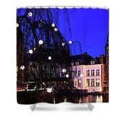 River Dijver, Rozenhoedkaai Area At Night, Bruges City Shower Curtain