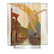 River Diver Shower Curtain
