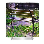River Fishing Bench Shower Curtain