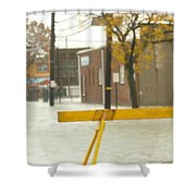 River Flowing Down The Street Hackensack Nj Shower Curtain