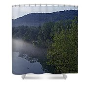 River Flowing In A Forest Shower Curtain