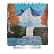 River Flowing Through Mountains Shower Curtain
