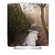 River In Afternoon Sunhaze  Shower Curtain