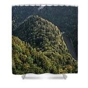 River In Forest Mountains Shower Curtain