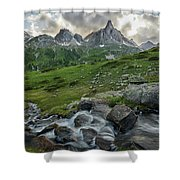River In The French Alps Shower Curtain