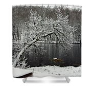 River In The Winter Shower Curtain