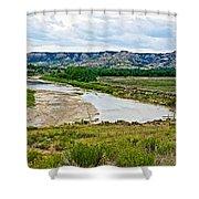 River Landscape In Northwest North Dakota  Shower Curtain