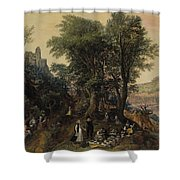 River Landscape In The Spring With Castle And Noblemen Shower Curtain