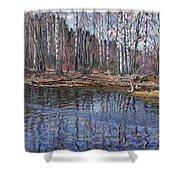 River Landscape Nikolai Petrovich Bogdanov-belsky Shower Curtain