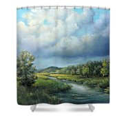 River Landscape Spring After The Rain Shower Curtain by Katalin Luczay