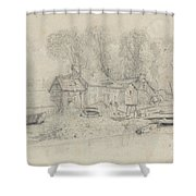 River Landscape With Buildings, Boats, And Figures Shower Curtain