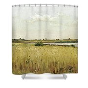River Landscape With Cornfield Shower Curtain