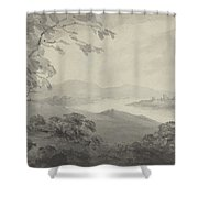 River Landscape With Ruins Shower Curtain