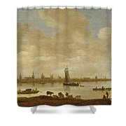 River Landscape With View Of Vianen Shower Curtain