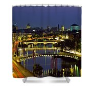 River Liffey Bridges, Dublin, Ireland Shower Curtain