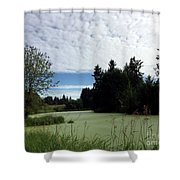 River Of Algae And Stippled Clouds Shower Curtain