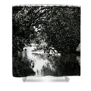 River Passage In Black And White Shower Curtain
