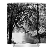 River Passage Through Trees Shower Curtain