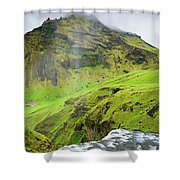 River Skoga And Green Nature In Iceland Shower Curtain