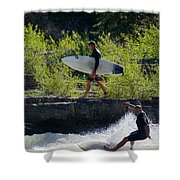 River Surfers Snake River Shower Curtain