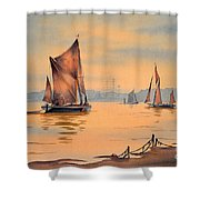 River Thames At Greenwich London Shower Curtain