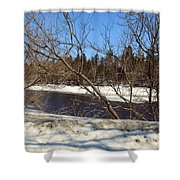 River Through The Branches Shower Curtain