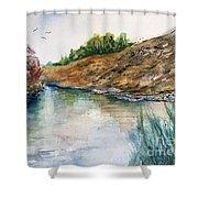 River Through The Hills Shower Curtain