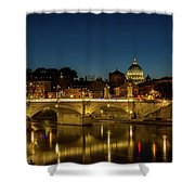 River Tiber And Vatican At Night Shower Curtain