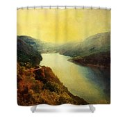 River Valley Sunrise Shower Curtain