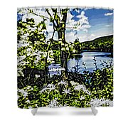 River View Through Flowers. On The Bridge Of Flowers. Shower Curtain