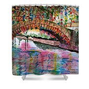 River Walk At Christmas Shower Curtain