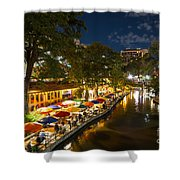A Night On The River Walk Shower Curtain