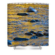 River Water And Rocks Shower Curtain