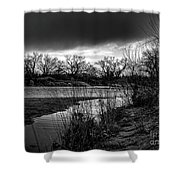 River With Dark Cloud In Black And White Shower Curtain