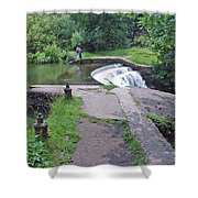 River Wye Weir Shower Curtain