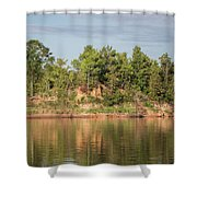 Riverbank Along The Red Shower Curtain