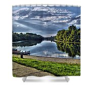 Riverbank Boats Shower Curtain