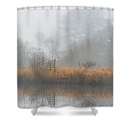 Riverbank In The Fog Shower Curtain