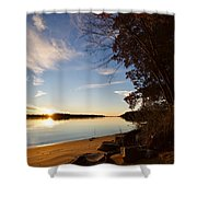 Riverbank Sunset Shower Curtain